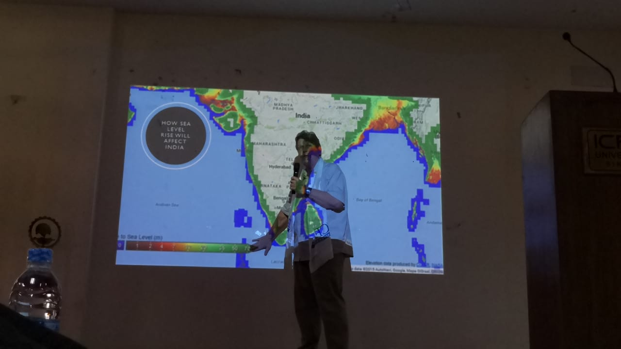 Brad explains the implications of Sea Level Rise on India, before MBA Graduates at SRM in Gangtok